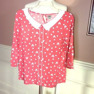Disney & LC Coral Mickey Print Peter Pan Blouse